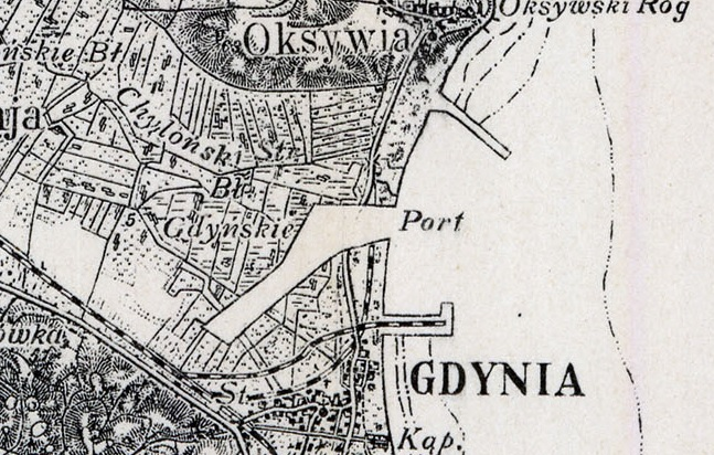 2 Mapa topograficzna Gdyni i okolic kanału portowego   fot. Mapy WIG